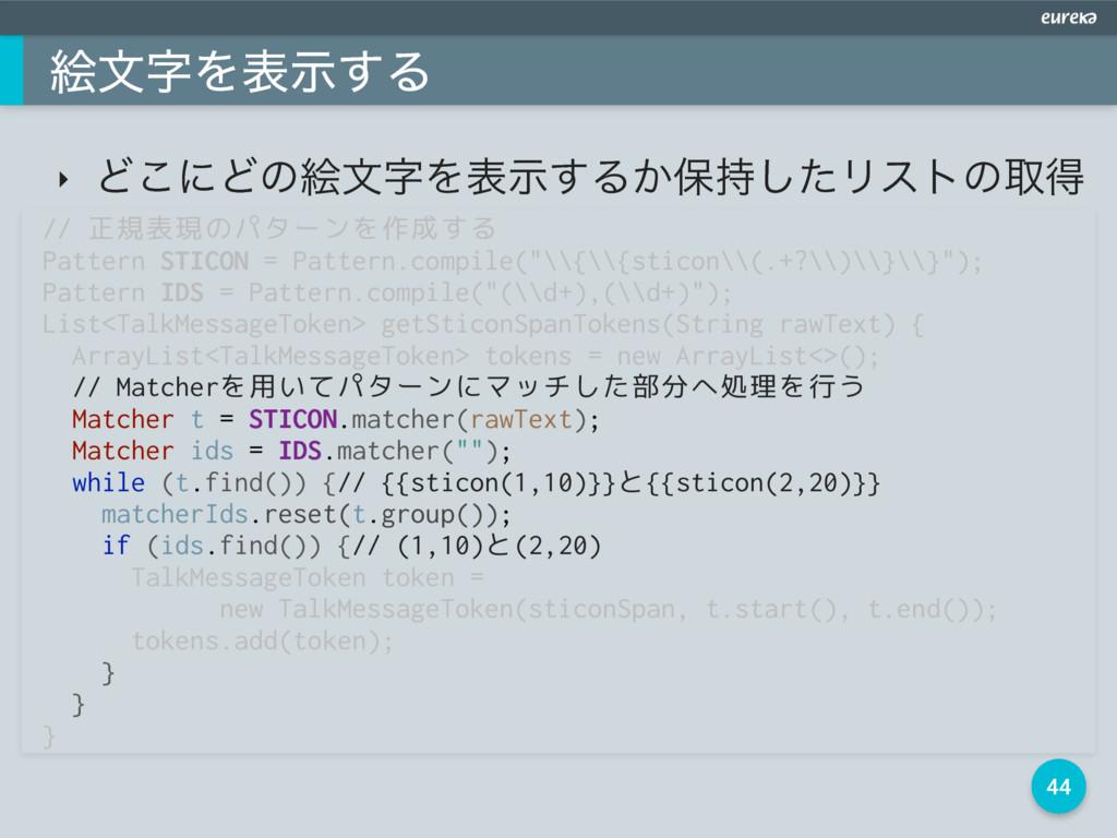 44 ֆจΛදࣔ͢Δ // 正規表現のパターンを作成する Pattern STICON = ...