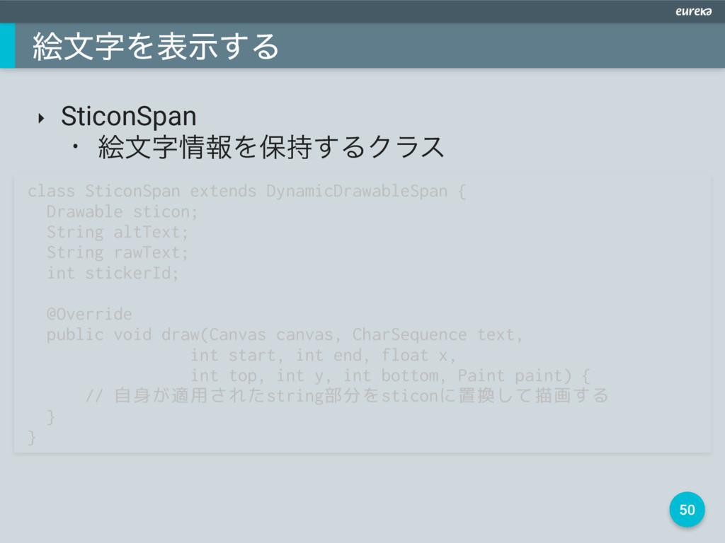 50 ֆจΛදࣔ͢Δ ‣ SticonSpan • ֆจใΛอ͢ΔΫϥε class ...