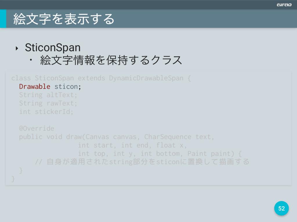 52 ֆจΛදࣔ͢Δ ‣ SticonSpan • ֆจใΛอ͢ΔΫϥε class ...