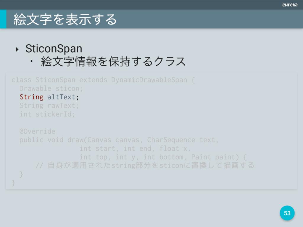 53 ֆจΛදࣔ͢Δ ‣ SticonSpan • ֆจใΛอ͢ΔΫϥε class ...