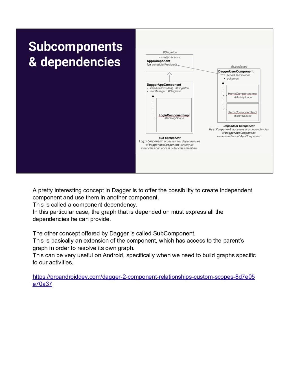 Subcomponents & dependencies A pretty interesti...