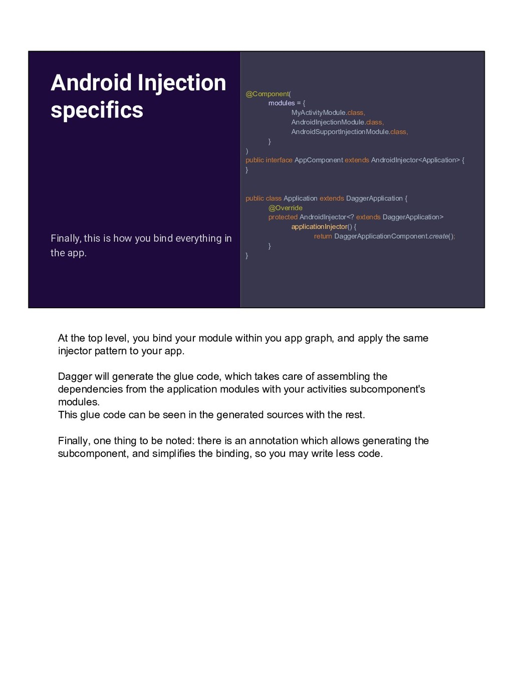 Android Injection specifics @Component( modules...