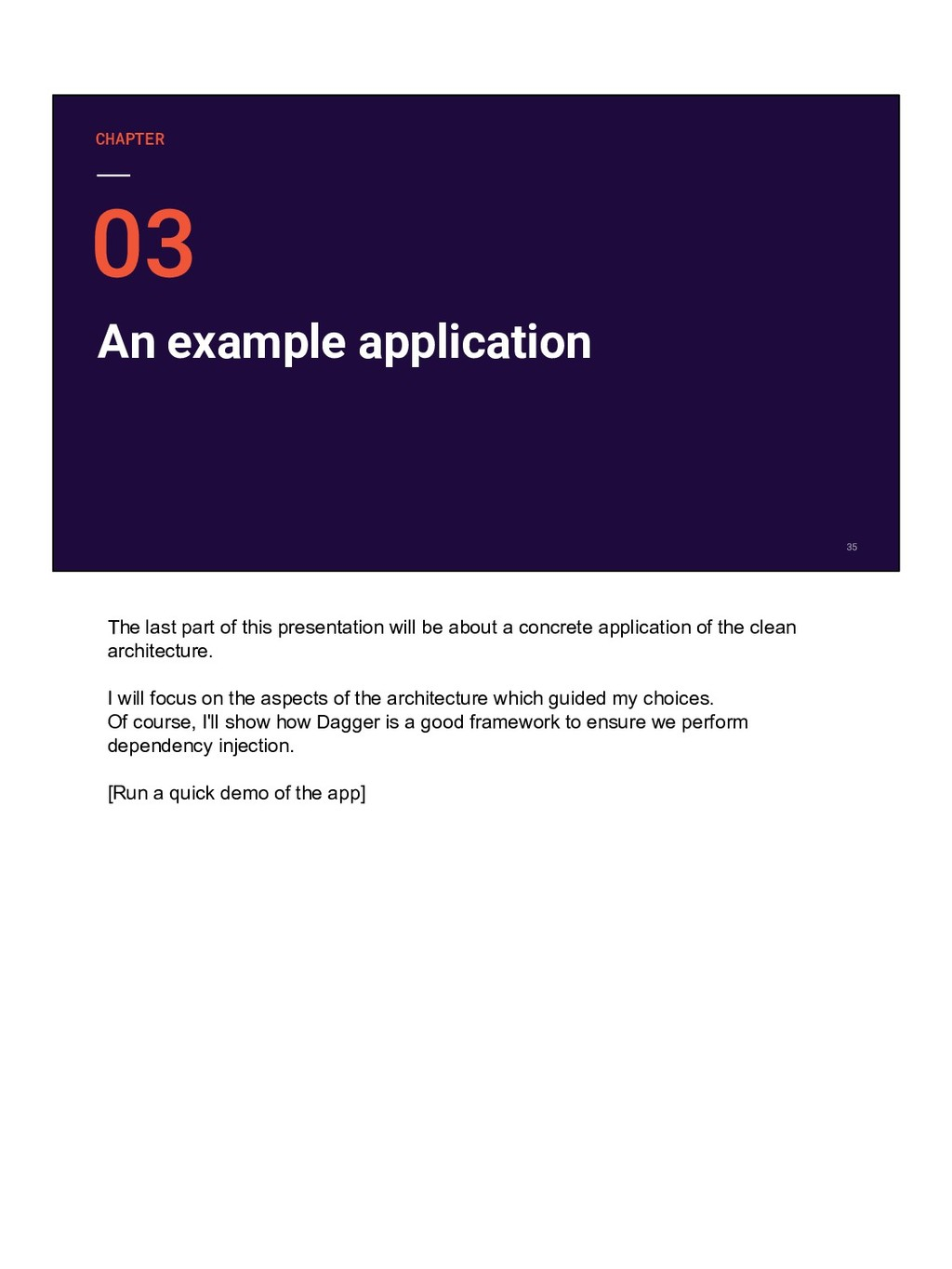 An example application CHAPTER The last part of...
