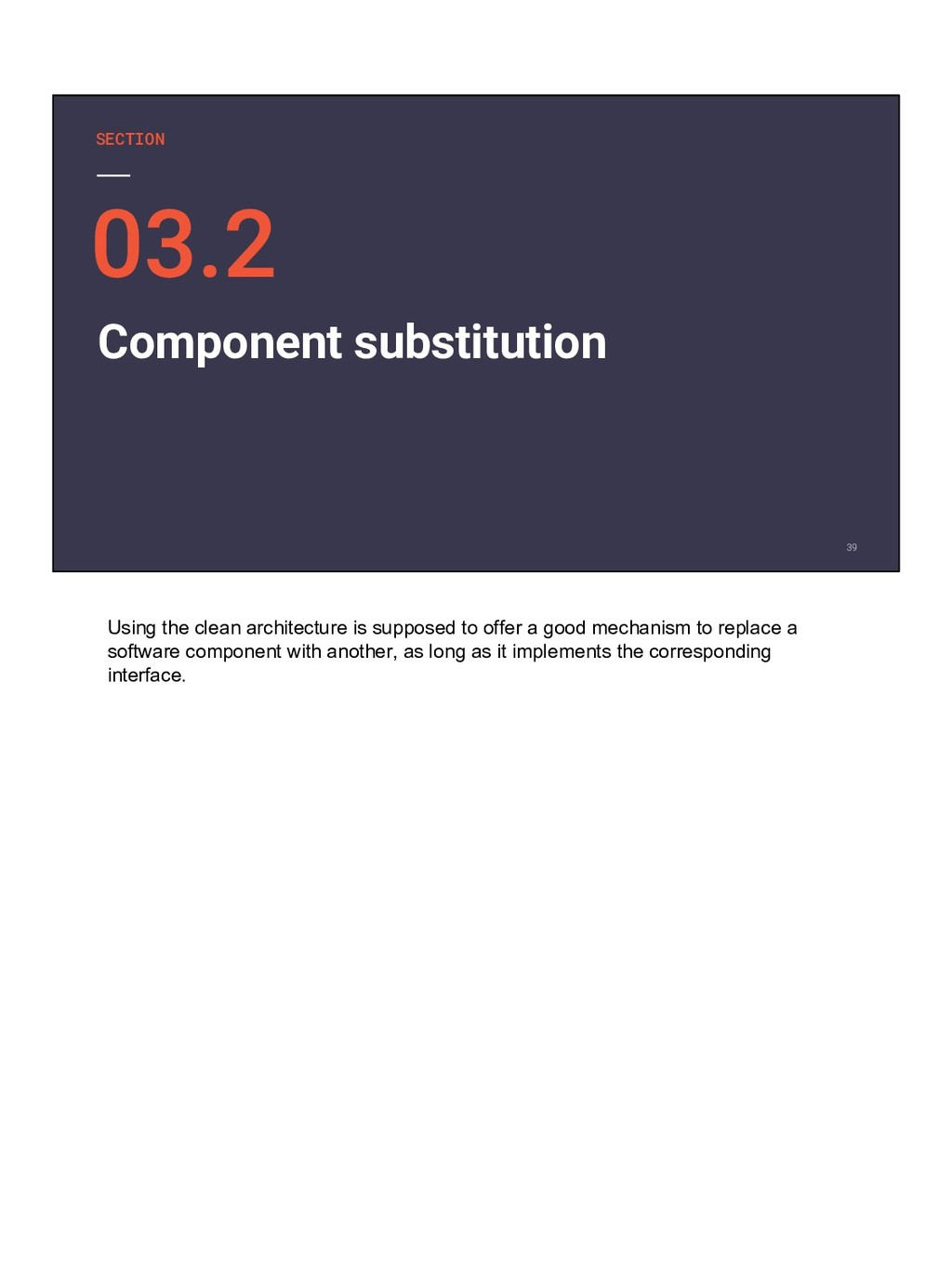 SECTION Component substitution Using the clean ...