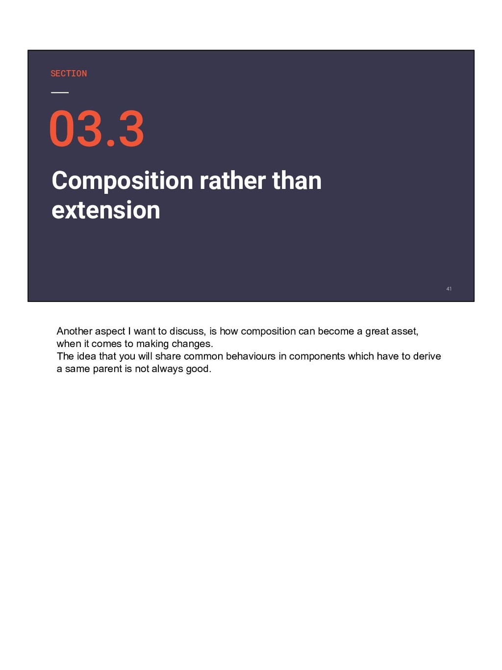 SECTION Composition rather than extension Anoth...