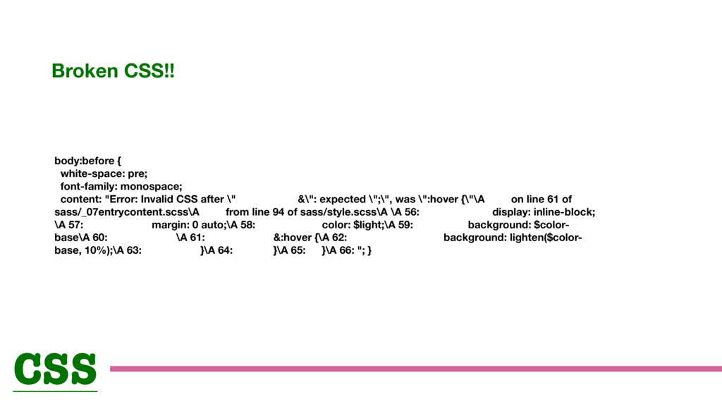 cv body:before { white-space: pre; font-family:...