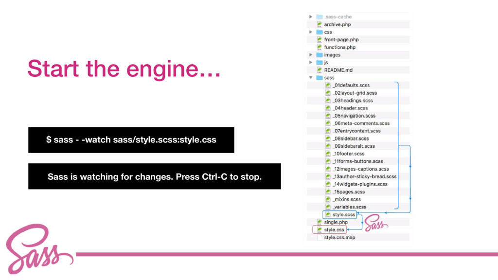 cv Start the engine… $ sass - -watch sass/style...