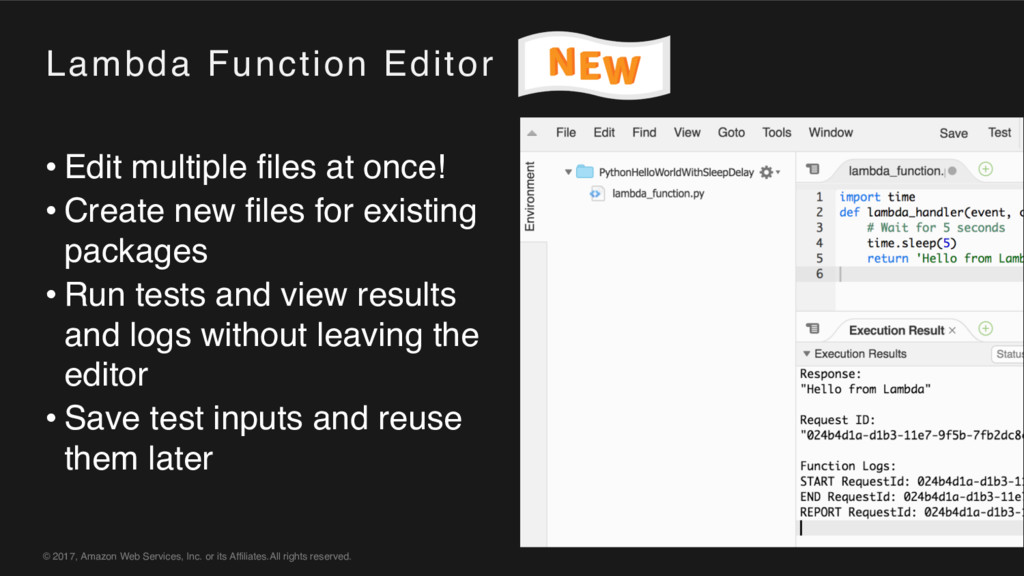Lambda Function Editor © 2017, Amazon Web Servi...