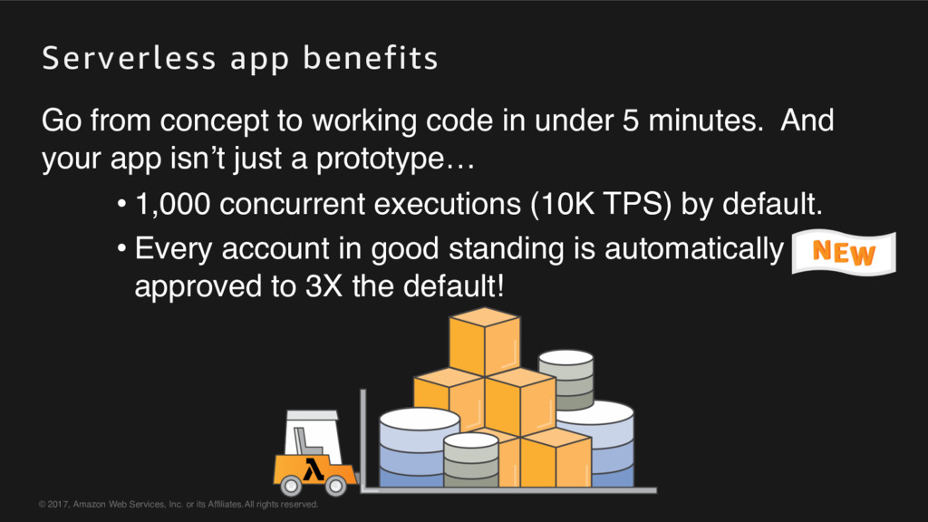 Serverless app benefits © 2017, Amazon Web Serv...