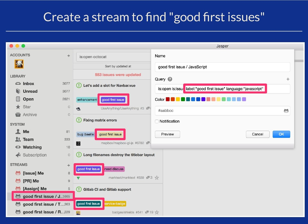 """Create a stream to nd """"good rst issues"""""""
