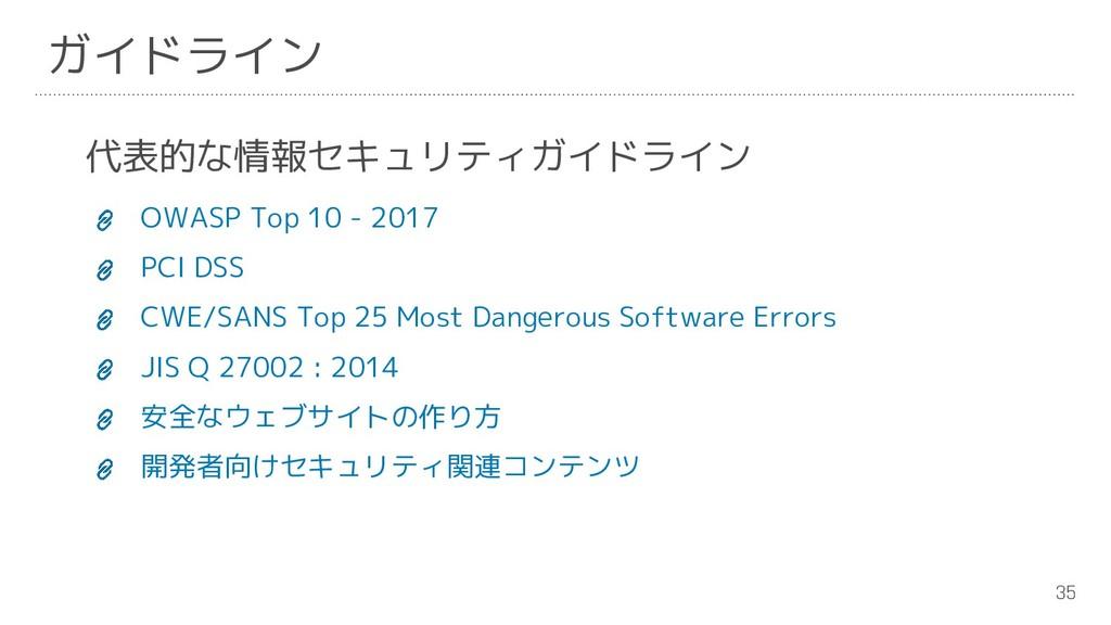 35 ガイドライン 代表的な情報セキュリティガイドライン OWASP Top 10 - 201...