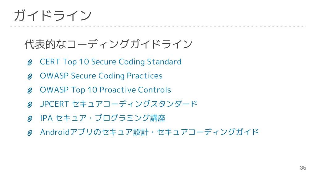 36 ガイドライン 代表的なコーディングガイドライン CERT Top 10 Secure C...
