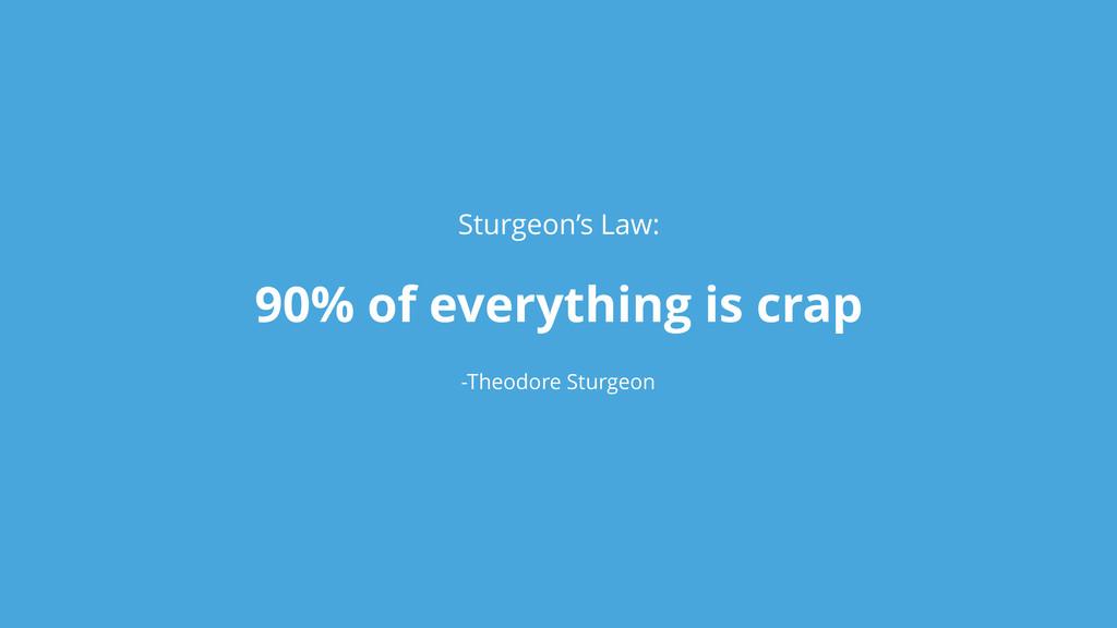 -Theodore Sturgeon 90% of everything is crap St...