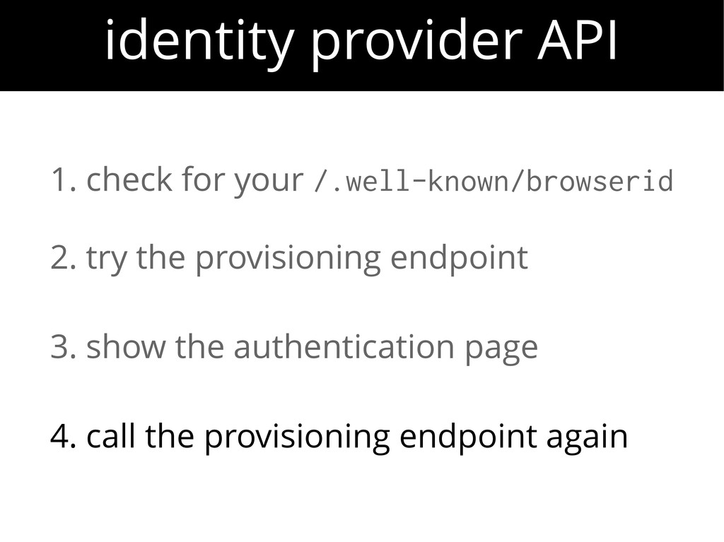 identity provider API 1. check for your /.well-...