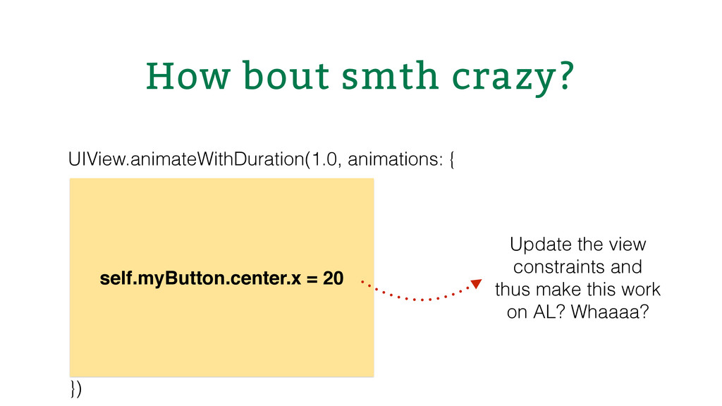 How bout smth crazy? UIView.animateWithDuration...