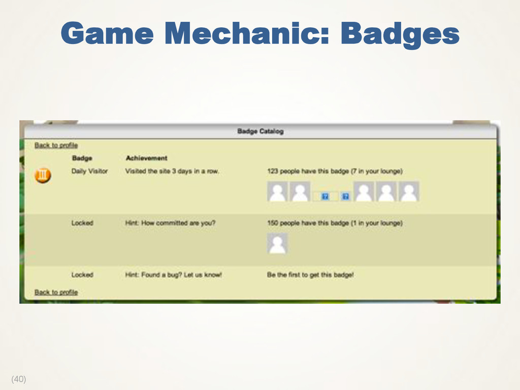 (40) Game Mechanic: Badges