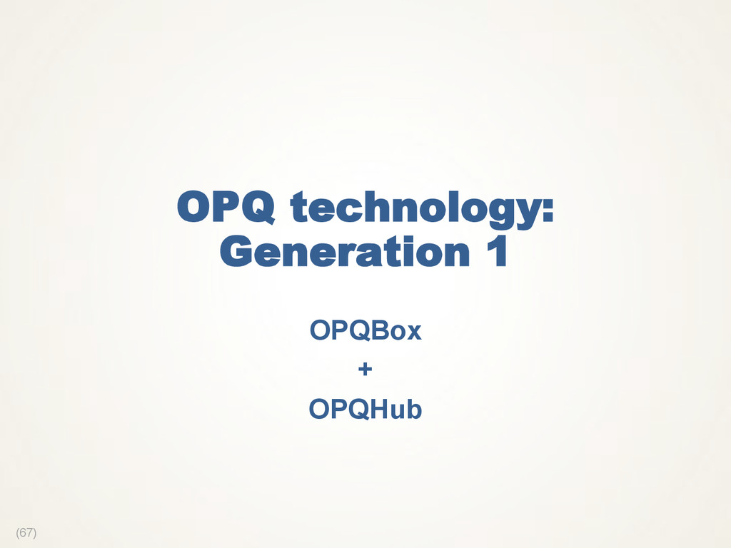 (67) OPQ technology: Generation 1 OPQBox + OPQH...