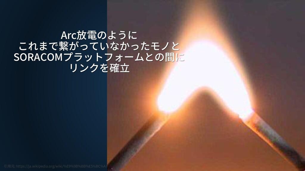 Arc放電のように これまで繋がっていなかったモノと SORACOMプラットフォームとの間に ...
