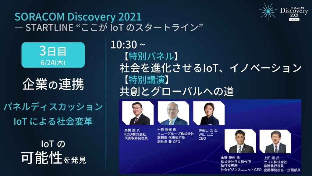 3日目 6/24(木) 企業の連携 IoT の 可能性を発見 パネルディスカッション IoT ...