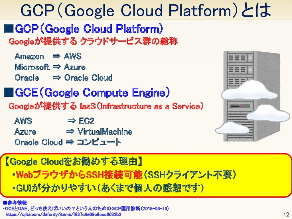 GCP(Google Cloud Platform)とは 12 ■GCP(Google Cl...