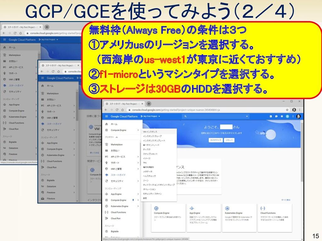GCP/GCEを使ってみよう(2/4) 15 無料枠(Always Free)の条件は3つ...
