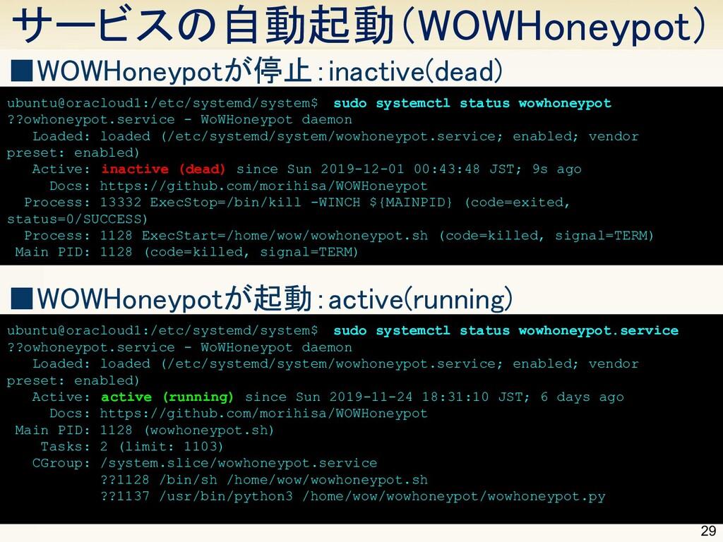 サービスの自動起動(WOWHoneypot) 29 ■WOWHoneypotが停止:inac...