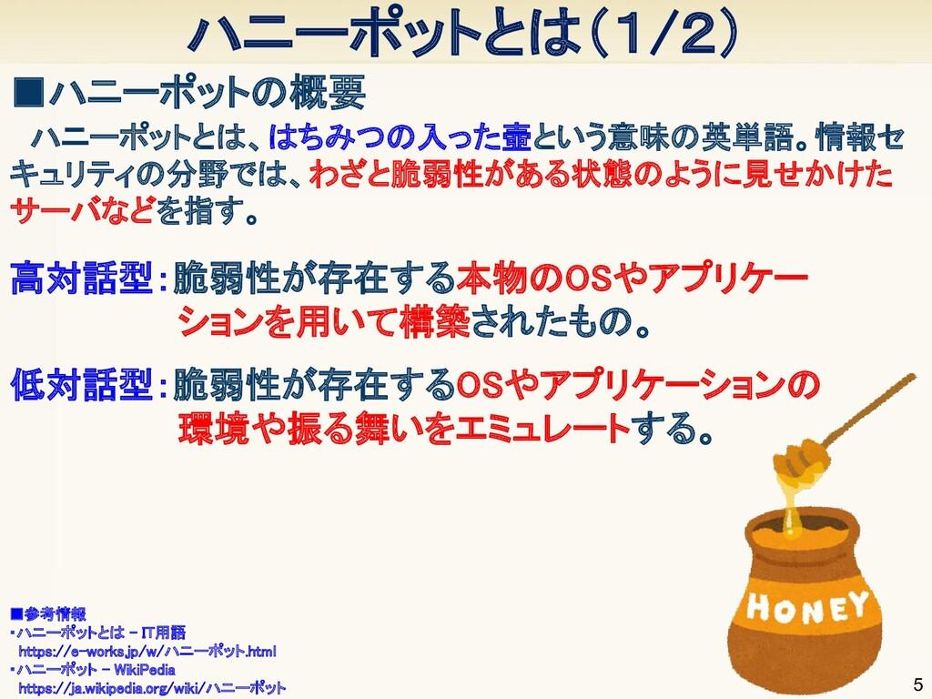 ハニーポットとは(1/2) 5 ■ハニーポットの概要        ■参考情報 ・ハニ...