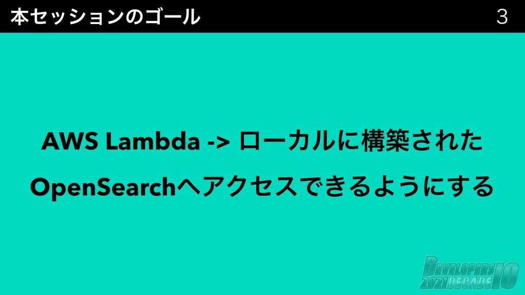 ຊηογϣϯͷΰʔϧ  AWS Lambda -> ϩʔΧϧʹߏங͞Εͨ OpenSearc...