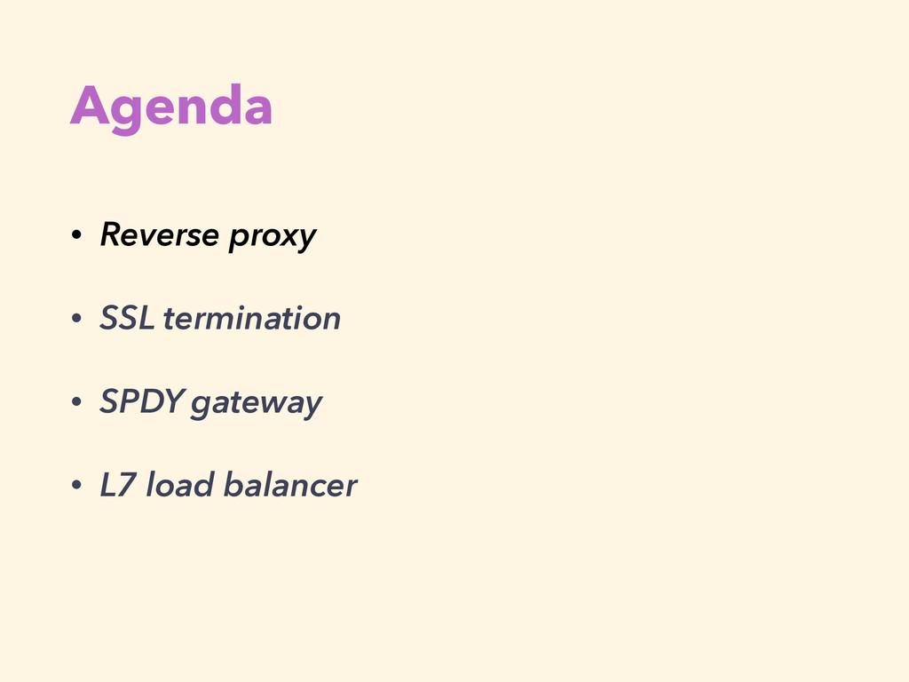 Agenda • Reverse proxy • SSL termination • SPDY...
