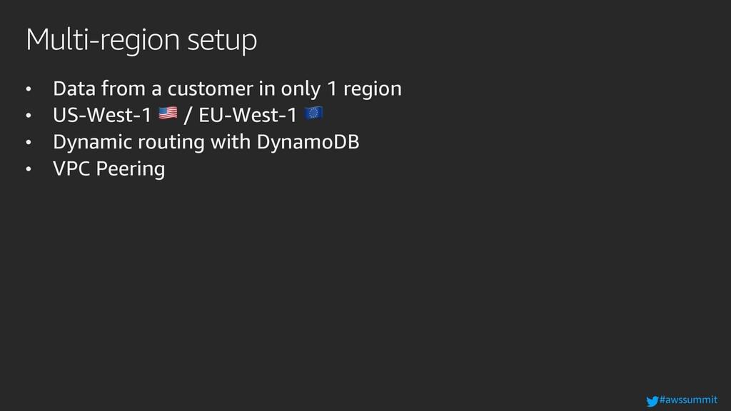 #awssummit Multi-region setup • Data from a cus...