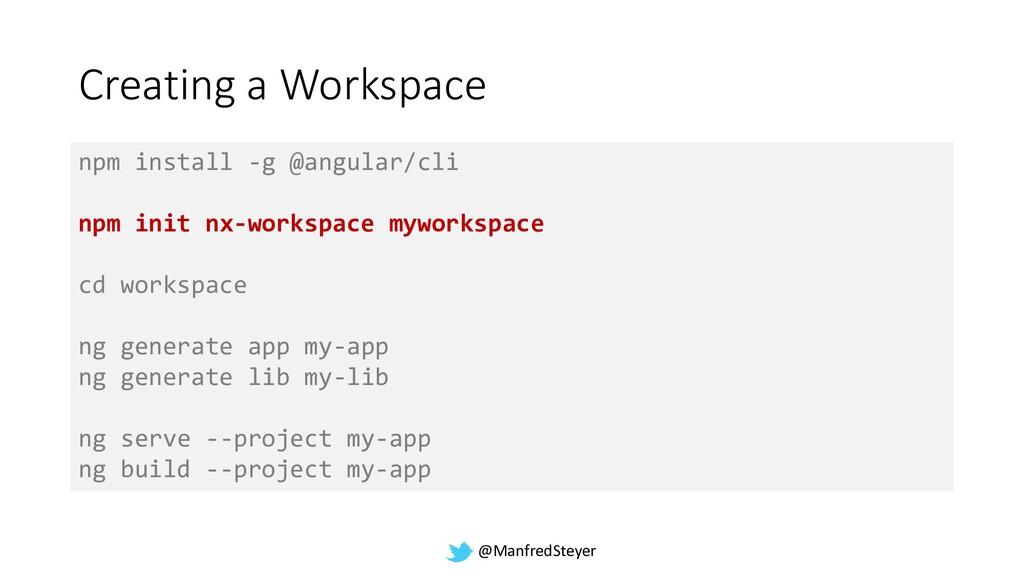 @ManfredSteyer Creating a Workspace npm install...