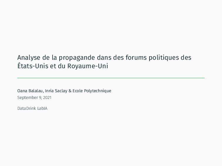 Analyse de la propagande dans des forums politi...
