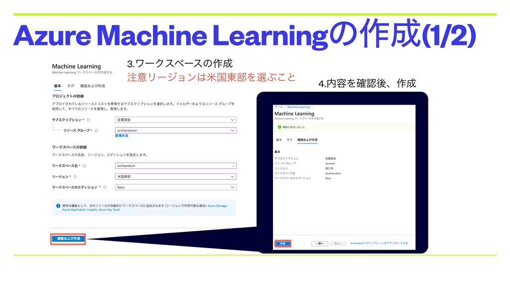 Azure Machine Learningͷ࡞੒(1/2) 3.ϫʔΫεϖʔεͷ࡞੒ ஫ҙϦ...