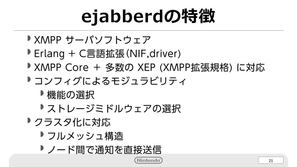 21 ejabberdの特徴 XMPP サーバソフトウェア Erlang + C言語拡張(NI...