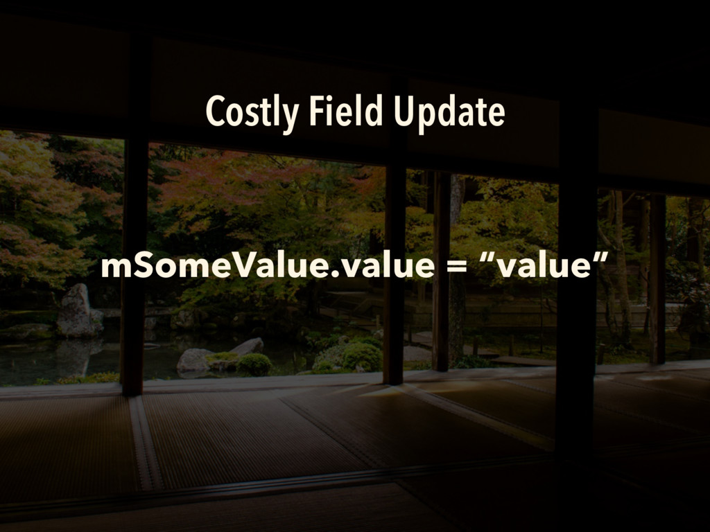 """Costly Field Update mSomeValue.value = """"value"""""""