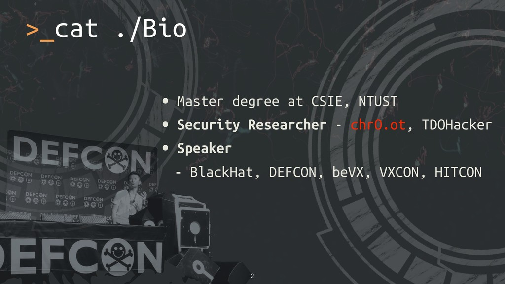• Master degree at CSIE, NTUST • Security Resea...