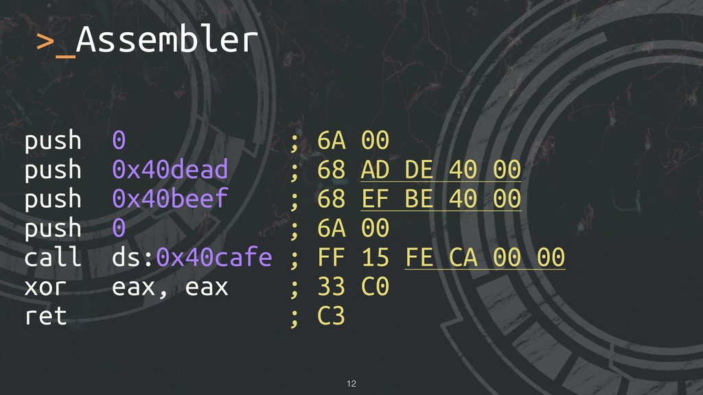 >_Assembler push 0 ; 6A 00 push 0x40dead ; 68 A...
