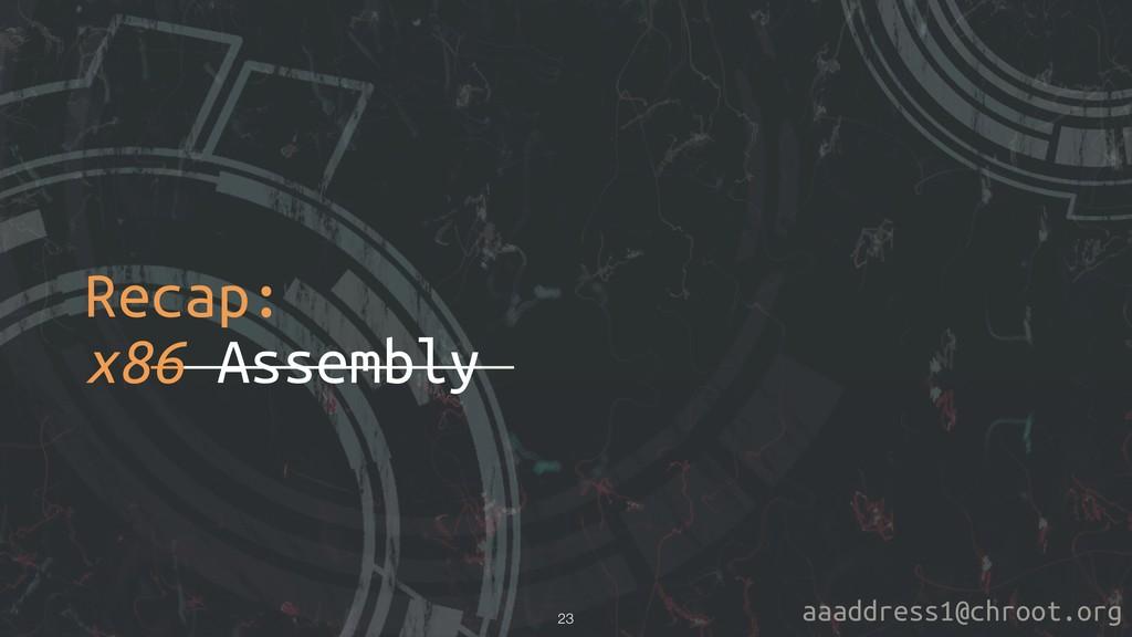 aaaddress1@chroot.org Recap: x86 Assembly !23