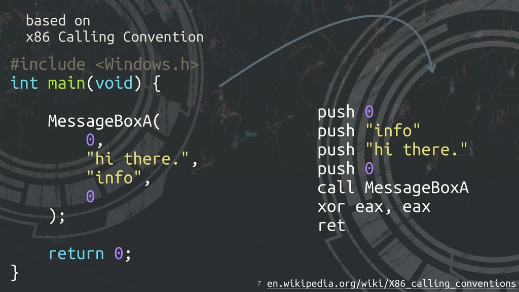 based on x86 Calling Convention !7 #include <Wi...