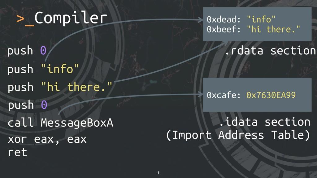 """>_Compiler 8 xor eax, eax ret push 0 push """"info..."""
