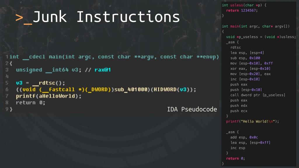 >_Junk Instructions !83 IDA Pseudocode