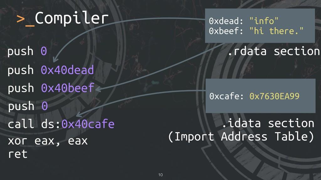 >_Compiler !10 xor eax, eax ret push 0 push 0x4...