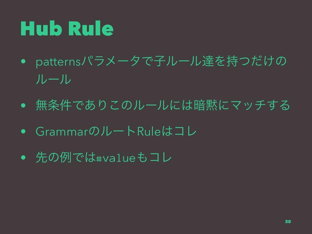 Hub Rule • patternsύϥϝʔλͰࢠϧʔϧୡΛ͚ͭͩͷ ϧʔϧ • ແ݅Ͱ...