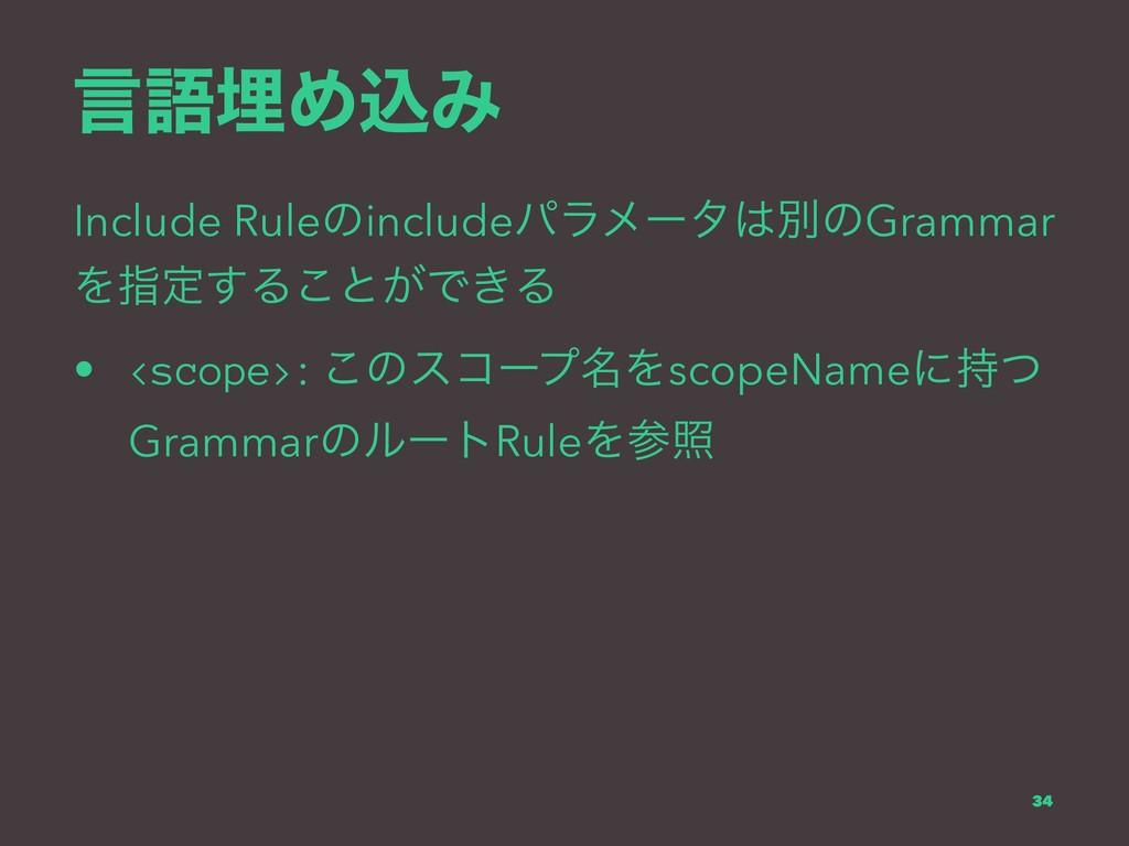 ݴޠຒΊࠐΈ Include RuleͷincludeύϥϝʔλผͷGrammar Λࢦఆ͢...