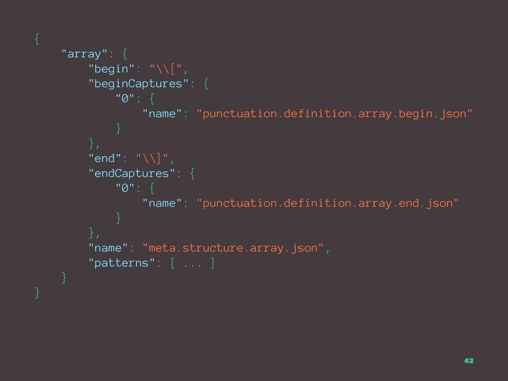 """{ """"array"""": { """"begin"""": """"\\["""", """"beginCaptures"""": {..."""