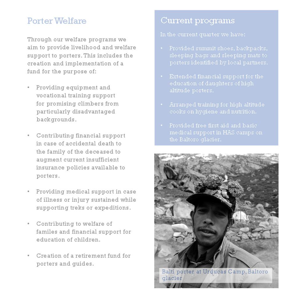 Porter Welfare Through our welfare programs we ...