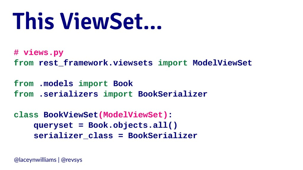 This ViewSet... # views.py from rest_framework....