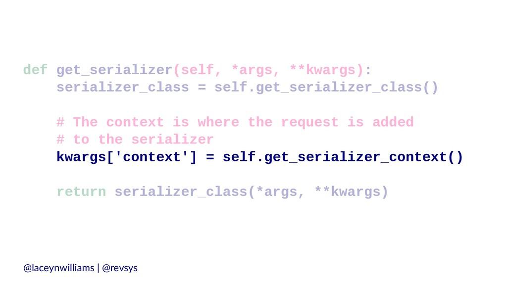 def get_serializer(self, *args, **kwargs): seri...