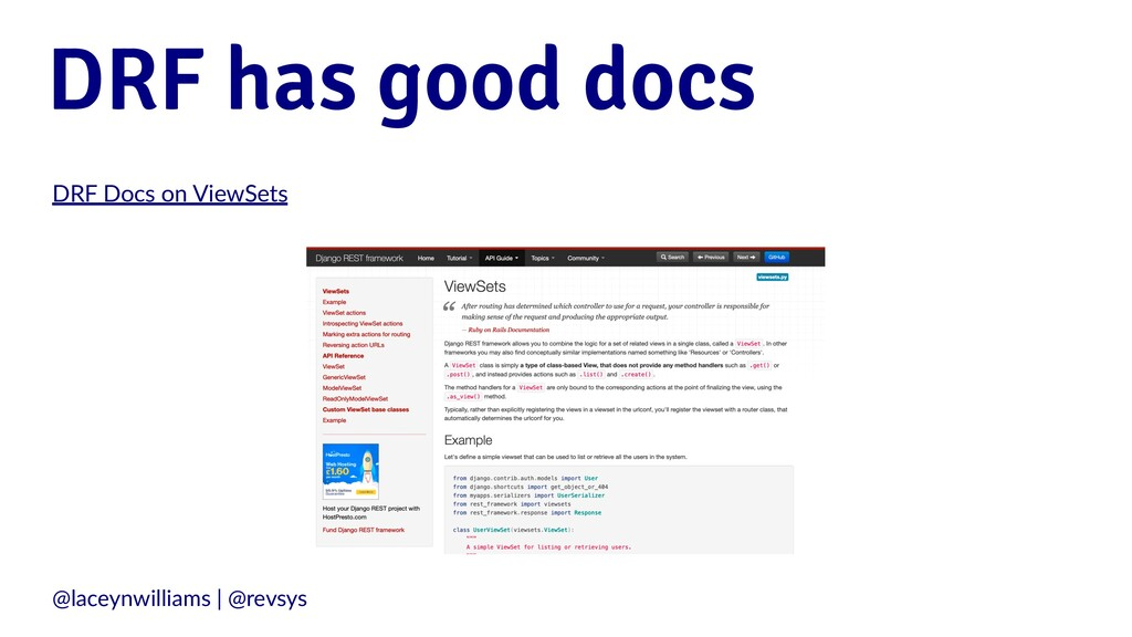 DRF has good docs DRF Docs on ViewSets @laceynw...
