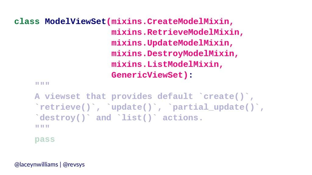 class ModelViewSet(mixins.CreateModelMixin, mix...